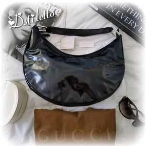 AUTHENTIC GUCCI Patent Leather Hobo Shoulder Bag